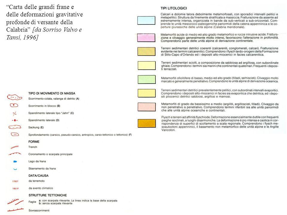 Carta delle grandi frane e delle deformazioni gravitative profonde di versante della Calabria [da Sorriso Valvo e Tansi, 1996]